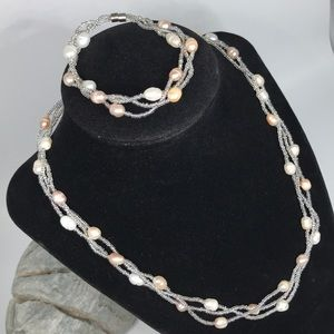 Mother of Pearl Braided Necklace & Bracelet Set